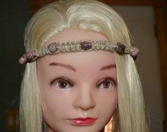 Gorgeous pink jasper tie on hemp headband