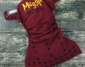 One size pocket / Muggle Born embroidery / cloth diaper / snaps / Little Beasties / adjustable elastic & leg gussets / embroidered diaper