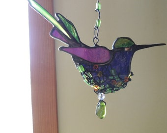 Stained Glass Nesting Hummingbird