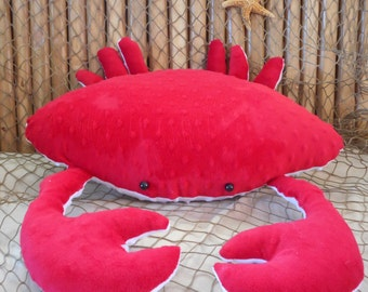 Crab pillow, red crab pillow, nautical decor, 3D crab pillow,coastal living, home decor, beach pillows, childs toy crab,decorative cushions