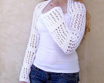 Womens bolero.Hand knit Shrug. wedding shrug White Shrug. Knit bolero.Hand Knit Bolero.