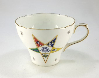 Shelley Bone China Cup, Eastern Star Logo, OES, Masonic