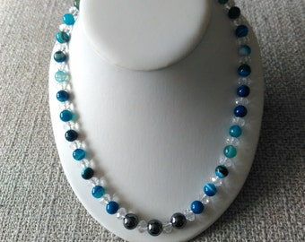 Blue Stripped Agate and Crystal Necklace