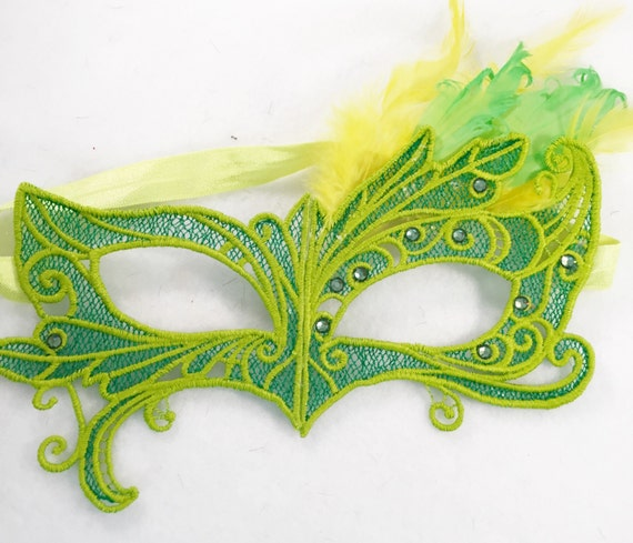Tinker Bell Disney Green mask! Lace feather crystal mask masquerade ball dance prom holiday SALE PRICE
