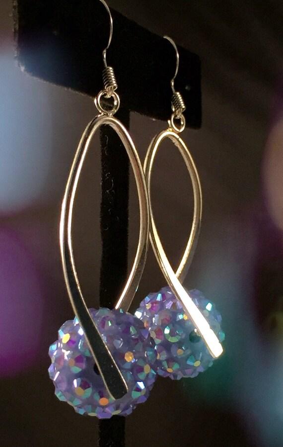 Silver blue drop earrings dangle