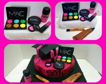 Handmade edible make up cake topper!