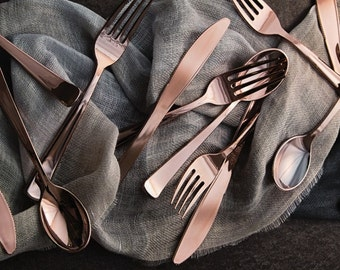 96 Flatware Place Settings ~ Rose Gold Metallic Plastic Cutlery ~ 288 Pieces! Weddings ~ Anniversary ~ Buffets ~ Holidays ~ Light Copper
