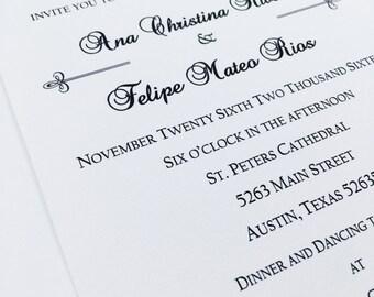 Classic Wedding Invitations-Black Tie Suite-Set of 50