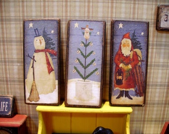 Three Primitive Christmas  Miniature Wooden Plaque 1:12 scale