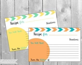 Recipe Cards Modern Tribal Orange Yellow Recipes