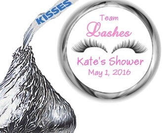 108 Team Lashes Baby Shower Hershey Kiss Labels