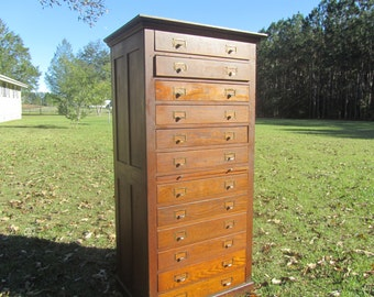 Antique Dental Cabinet, apothecary cabinet,Tell City Desk Company, Oak Dental Cabinet, Twelve Drawer Cabinet