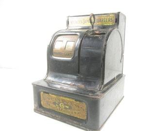 Uncle Sams 3 Coin Register Bank, Youth Savings Bank, Black Metal Cash Register Bank, advertising promotion,