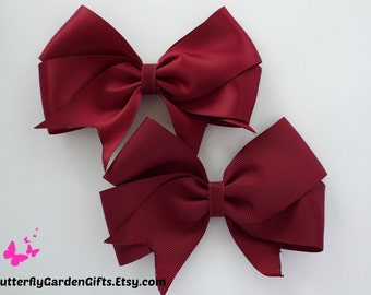 Maroon satin or grosgrain tail down boutique hair bow clip