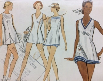 Vogue 8257 UNCUT Tennis Dress & Shorts 1970s Vintage Very Easy Vogue Sewing Pattern Size 14 Bust 36""