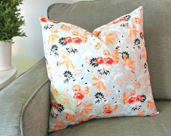 Gray and tangerine floral pillow cover