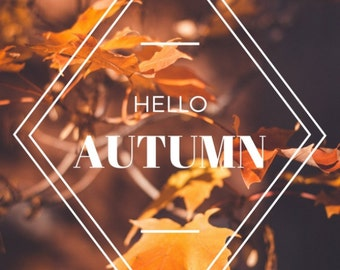 Hello Autumn Postcard, Inspirational Quote Postcard, Inspirational Print, Autumn Quote, Fall Postcard | Typography Postcard