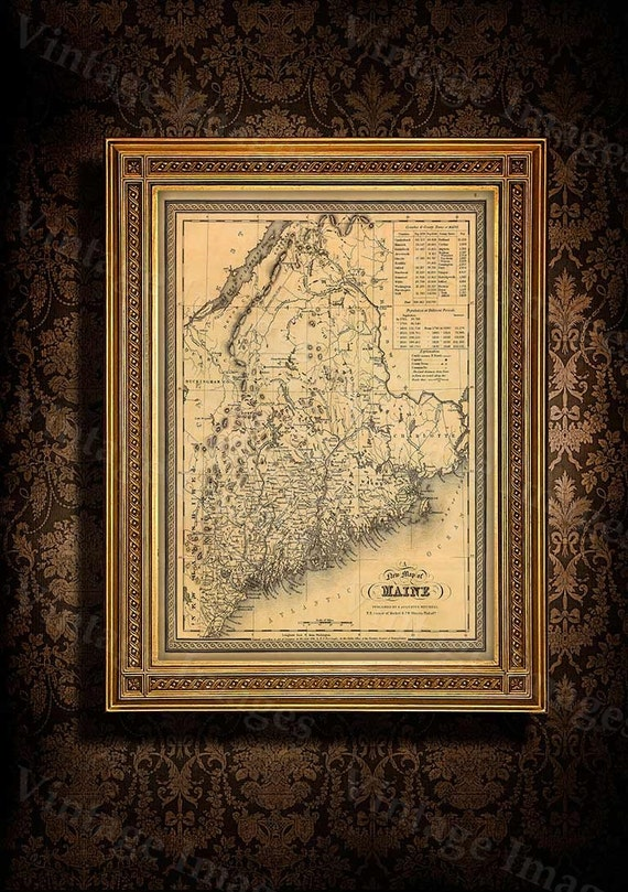 Map of Maine 1846 Old Maine Map Old Historic Map of Maine Antique Restoration Hardware Style Maine state Wall Map home office decor gift
