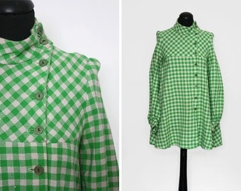 1960s Button Front Green Gingham Wool Trapeze dress