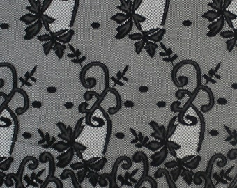 Black Grace Lace Fabric With Double Floral Border  Fabric By The Yard - Style 557