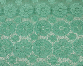 Seafoam Light Catherine Floral Stretch Lace Fabric by Yard - Style 646