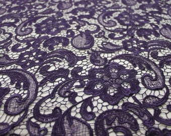 Venice Embroidered Plum Lace Fabric for Wedding Lace Bridal Elegant Dress French Guipure Lace by the yard- 1 Yard Style 5001