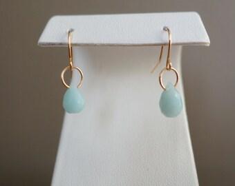 Mini Minimalist Minimalism Baby Blue Gold Hoop Indie Boho Chic Teardrop Crystal Dangle Hoop Earrings