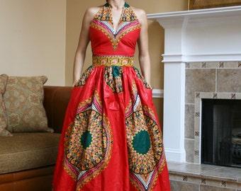 African Print Halter Top Maxi Dress