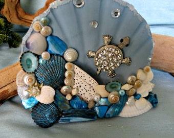 Sea turtle Seashell table top decor_beach home decor