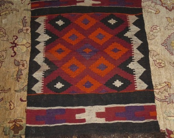 Vintage Wool Native Tribal Rug , Bohemian , Geometric Contemporary Design , 25 3/4 by 34 inches