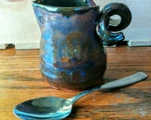 Rustic Blue Ceramic Creamer, Brown, Blue, Green, Maroon Syrup Pitcher, Small Handmade Pottery Gravy Boat, Sauce Serving Dish