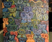 Owls, Original, Oil on Canvas, Canvas Painting, Gift For Her, Bathroom Wall Decor, Kids Room,Boys Room,Office Wall Decor,Colorful Wall Decor