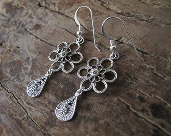 Jewelry, Earrings,Silver earrings , Filigree earrings ,  Silver flower earrings, Israel jewelry