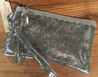 Leather Wristlet with Fringe in Silver Sparkle