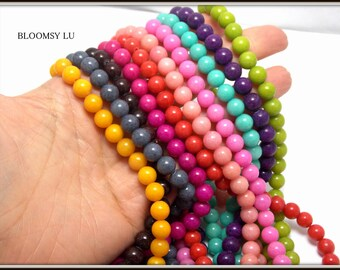 Semi Precious Beads, 8mm, Jade Beads, Full Strand, Gemstones Beads, Jewelry making Supplies, Stones, Beads for bracelets, Jewelry beads