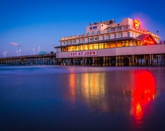 The pier at night in Daytona Beach, Florida. | Photo Print, Stretched Canvas, or Metal Print.