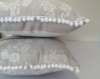 Oblong cushion/pillow Laura Ashley Josette Grey - French Shabby Chic cover