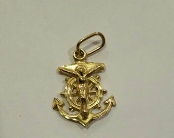 Detailed cross, ships wheel and anchor, 14k gold