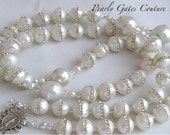 PERSONALIZED PEARL ROSARY Sterling and Swarovski-Catholic Bridal Rosary-ReligiousGifts-First Communion-Baptism-Confirmation-Catholic Wedding