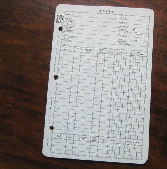 20 vintage MI-Reference Stock & Dividend record sheets by Pfening and Snyder. 1970 Form 2