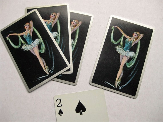 Five ballerina playing cards for collage, mixed media, card swap, pocket pages. Ballet ephemera. Dancing. Artist Cydney Grossman