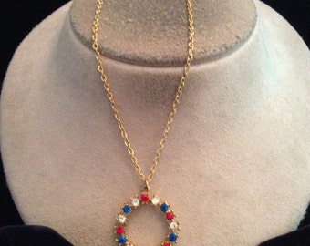 Vintage Red Clear & Blue Rhinestone Pendant Necklace