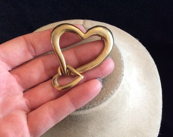 Vintage Large Dangling Double Heart Pin
