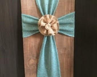 Wood & Burlap Cross