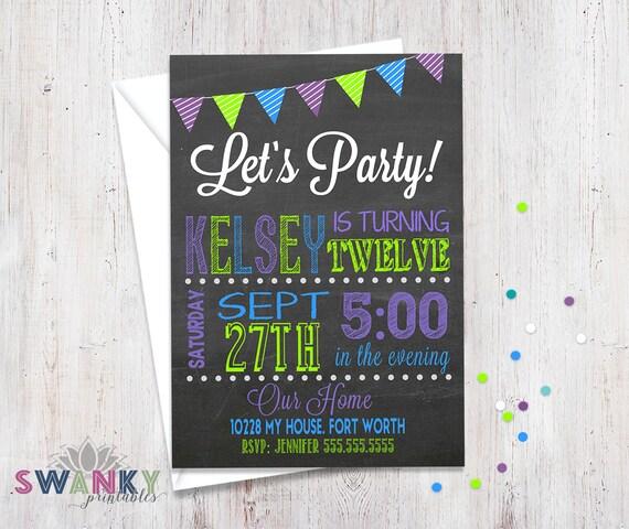 chalkboard birthday invitation neon colors tween birthday invitations chalkboard