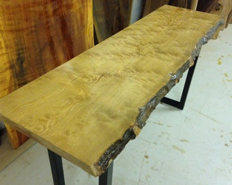 RARE Live Edge Console Table - Wood Slab Table - Live Edge Slab - Wood Slab Coffee Table - Sofa Table - Curly Sinker Pine (10)