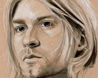 "Kurt Cobain ""Nirvana"" Original Art Hand Drawn Toned Paper Portrait"