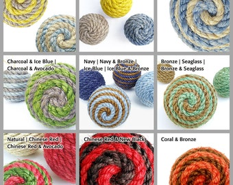 Large Sisal Rope Decorative Ball, Ornament, Natural or Dyed Sisal, Nautical Home Decor