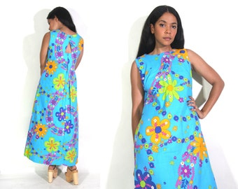 Vintage 60s Blue Day Glo Hawaiian Floral Maxi Dress Keyhole Cut Out Back Hippie Glam