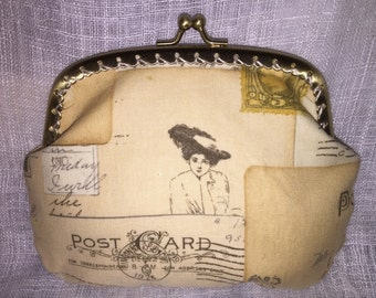 Large Vintage Post Card Coin Purse